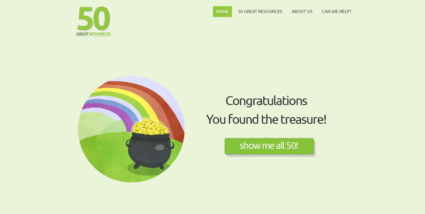homepage of 50 great resources website