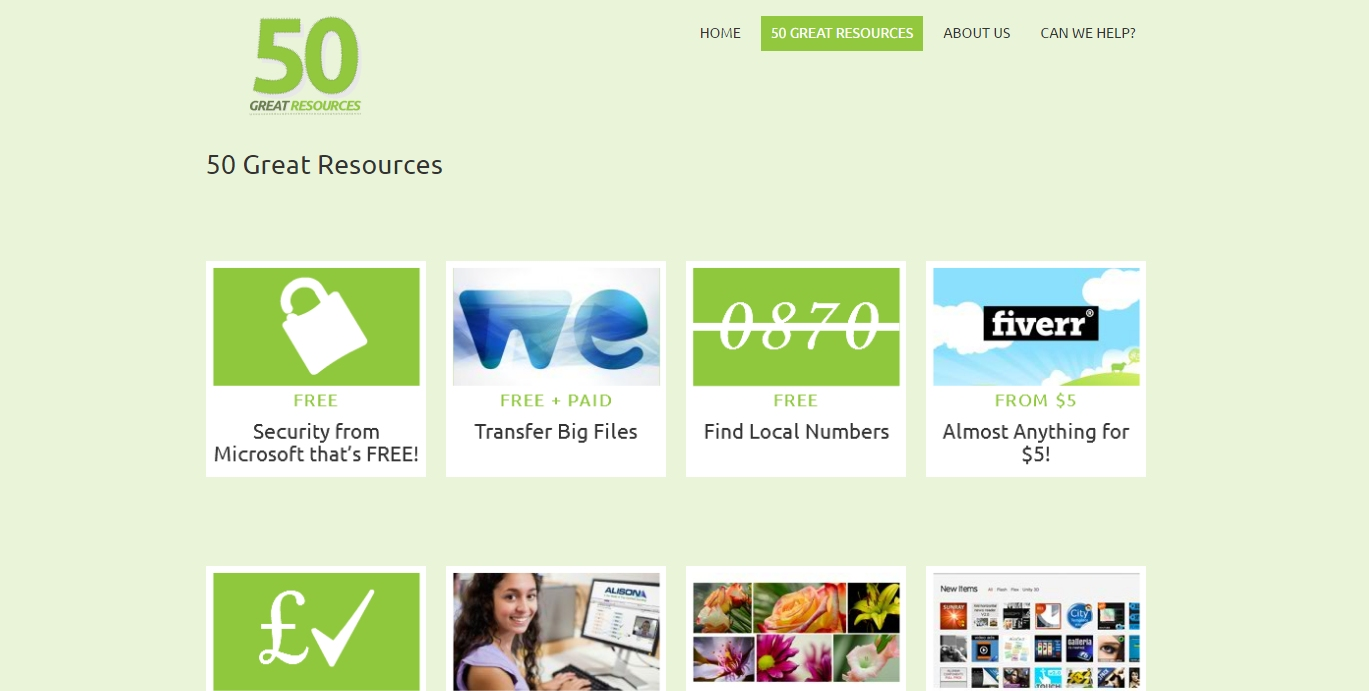 screen capture of 50 great resources