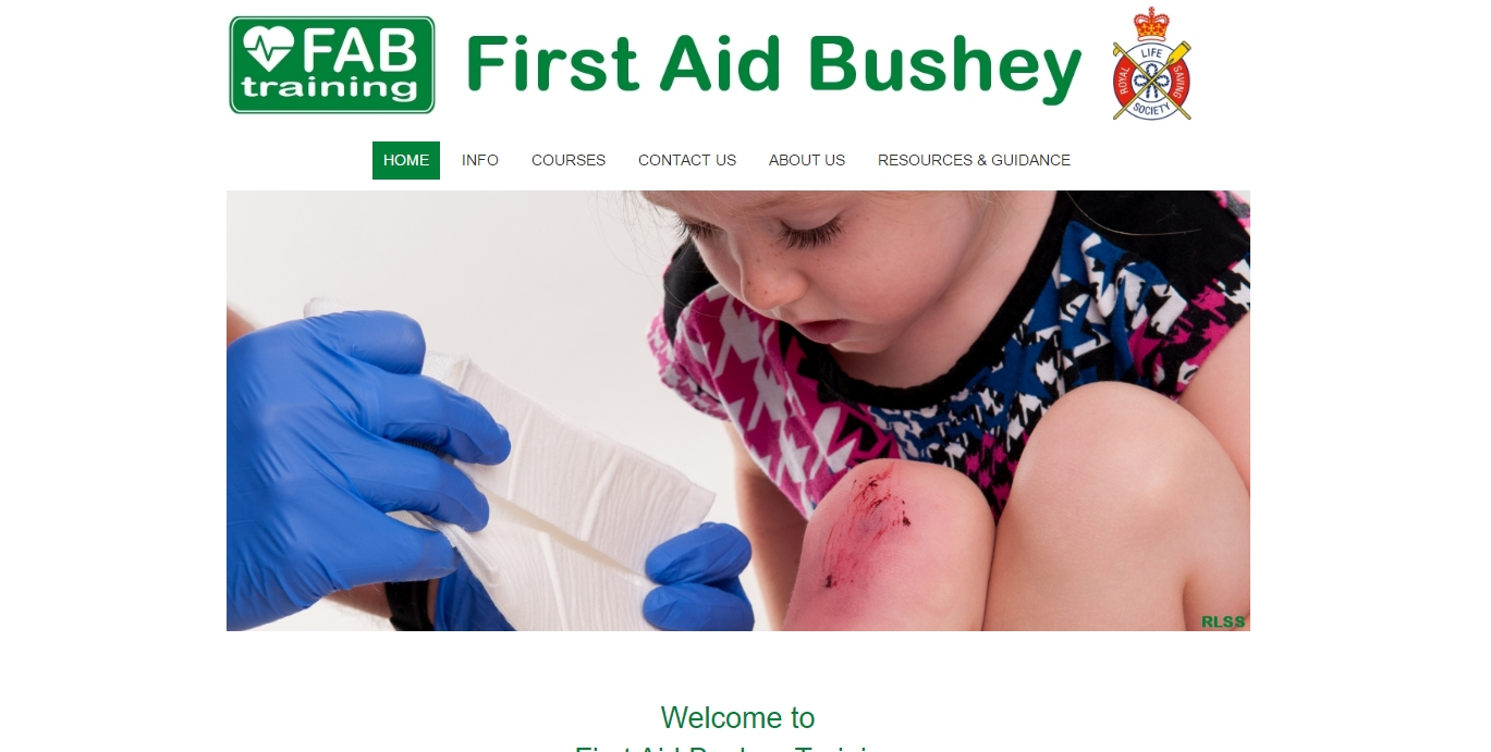 a girl receives first aid on website hompage