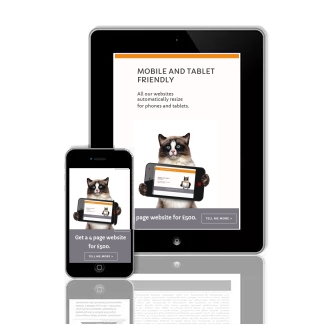 a mobile phone and a tablet both display a resized website