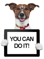 dog with glasses holds a tablet which says you can do it edit your own website with training