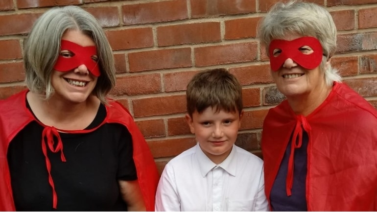 Sally with mum and son, fundraising for Let's Play Project's Heroes Campaign.